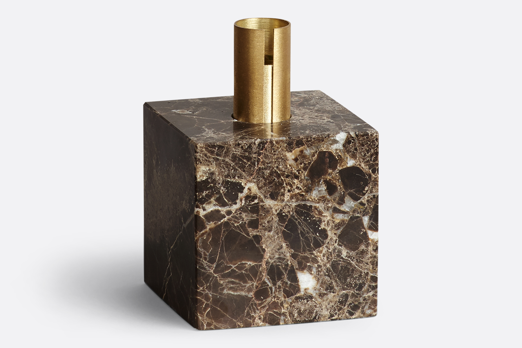Block Candle Holder, Dark Brown Marble