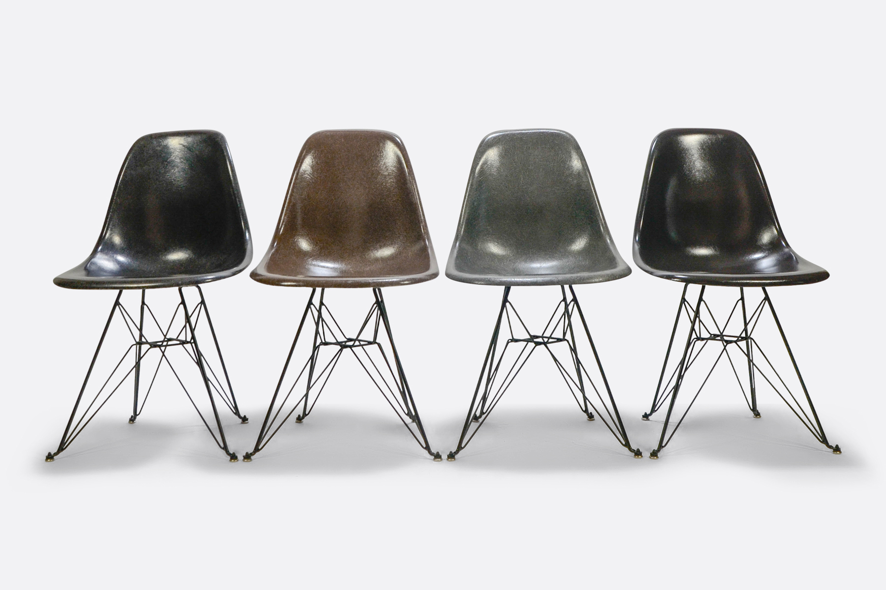 Eames DSR set of 4 Jet Black - Seal Brown - Elephant Grey - Charcoal 1