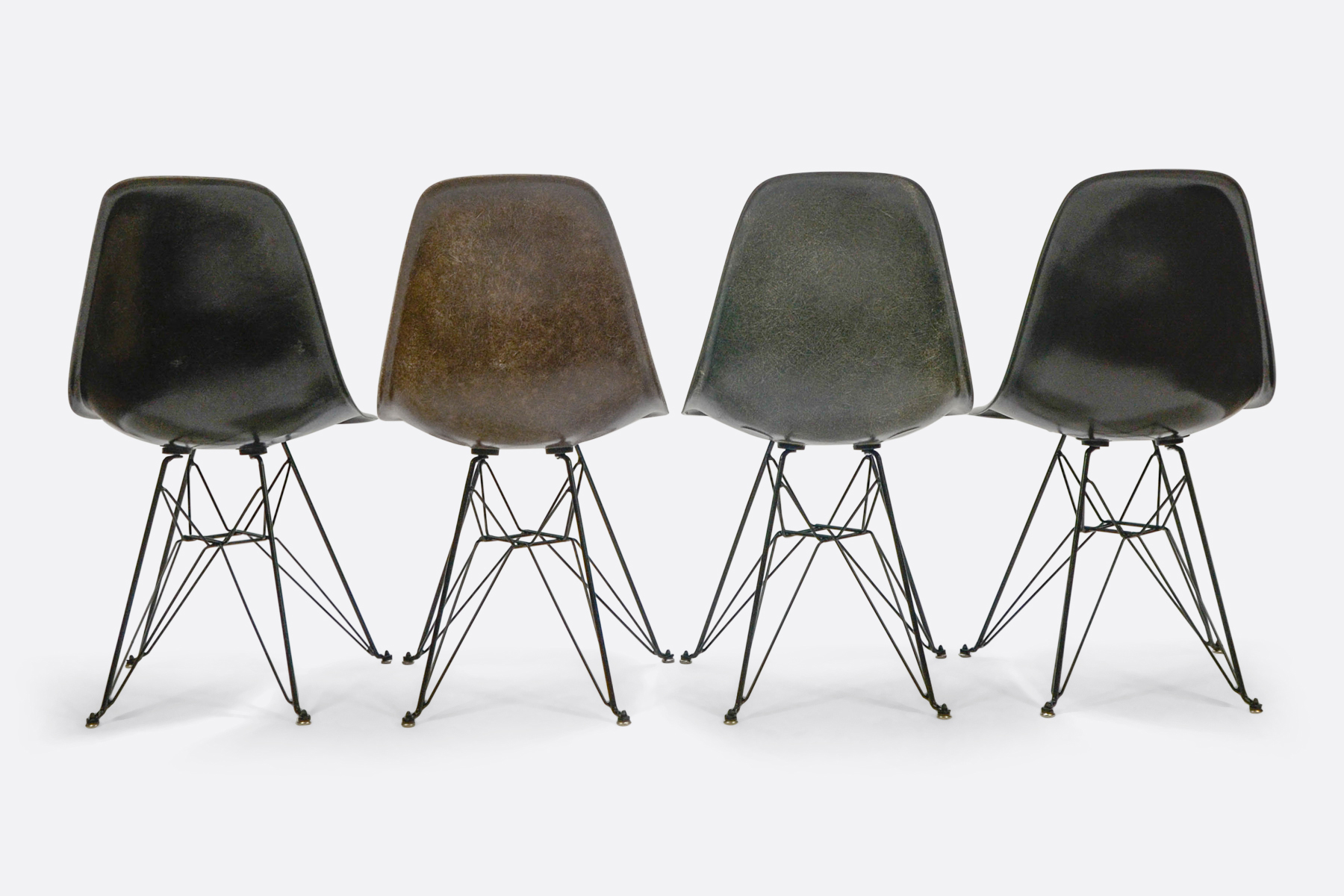 Eames DSR set of 4 Jet Black - Seal Brown - Elephant Grey - Charcoal 4