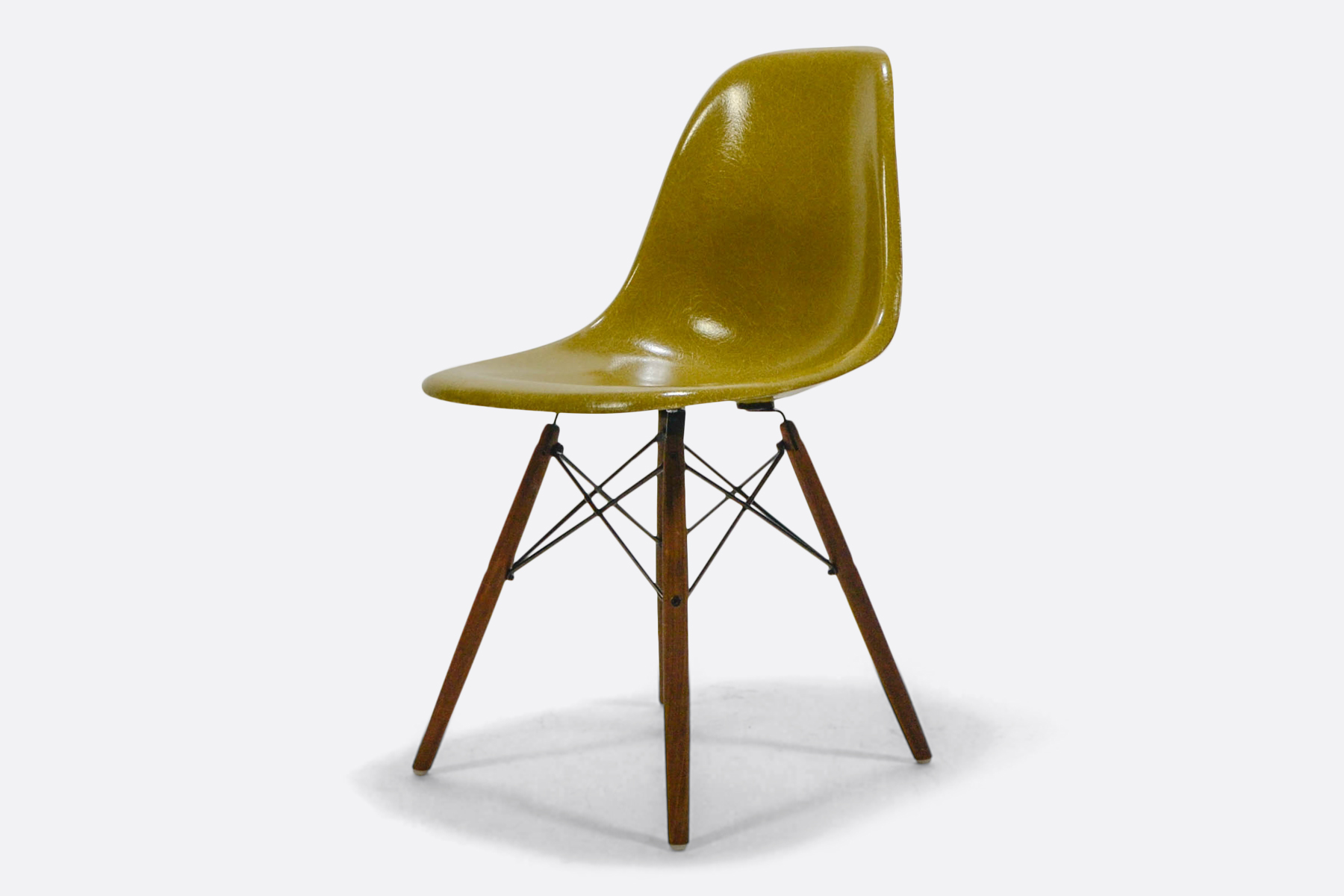 Vintage eames fiberglass side chair mustard the modern