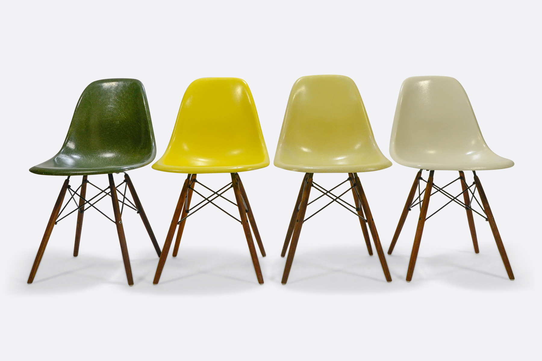 Eames DSW set of 4 Forest Green - Canary Yellow - Lemon Yellow - Off White1