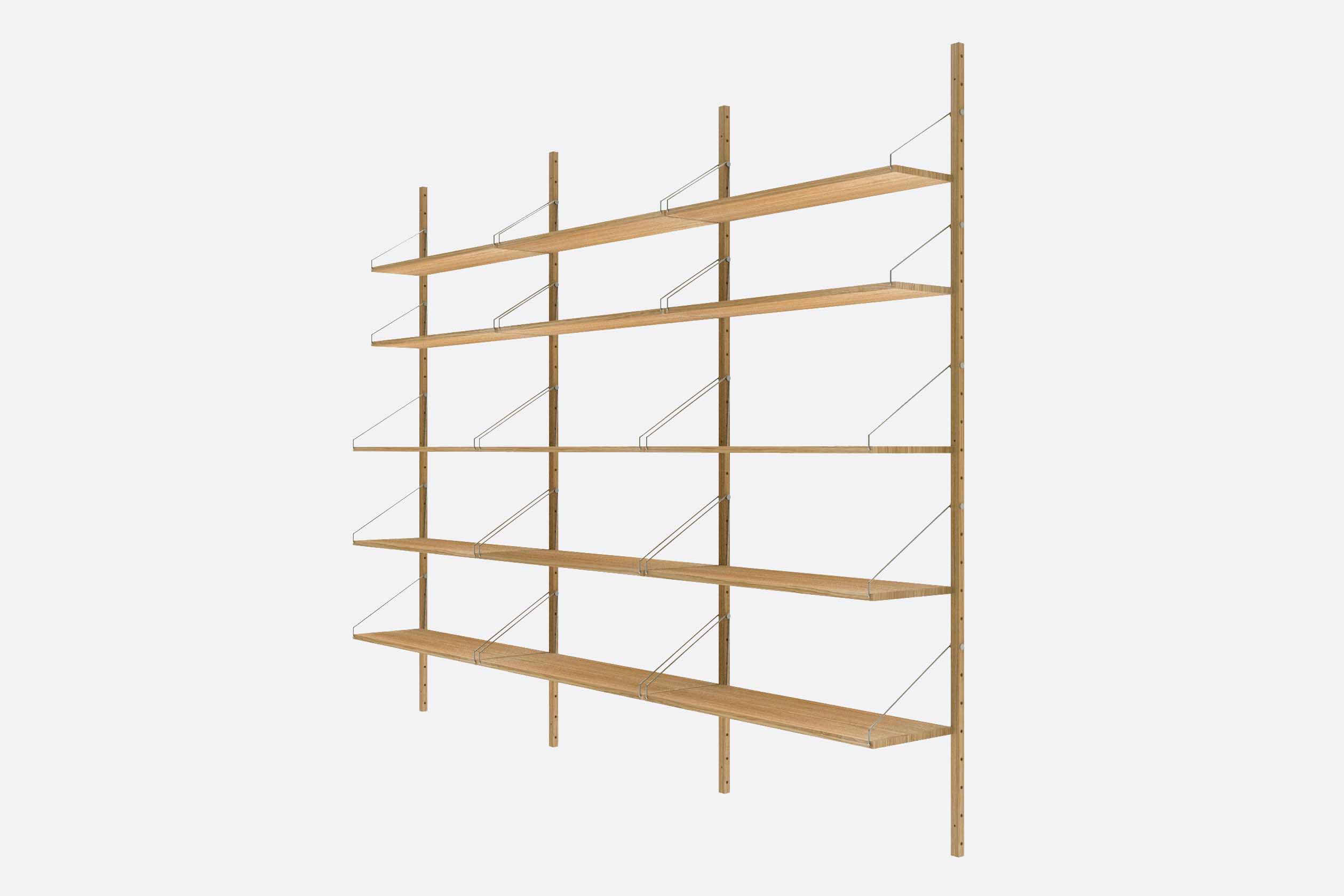 Shelf Library Natural H1852 | Triple Section Natural Angle